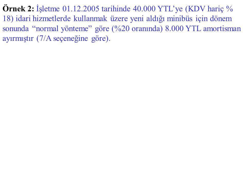 Örnek 2: İşletme 01. 12. 2005 tarihinde 40