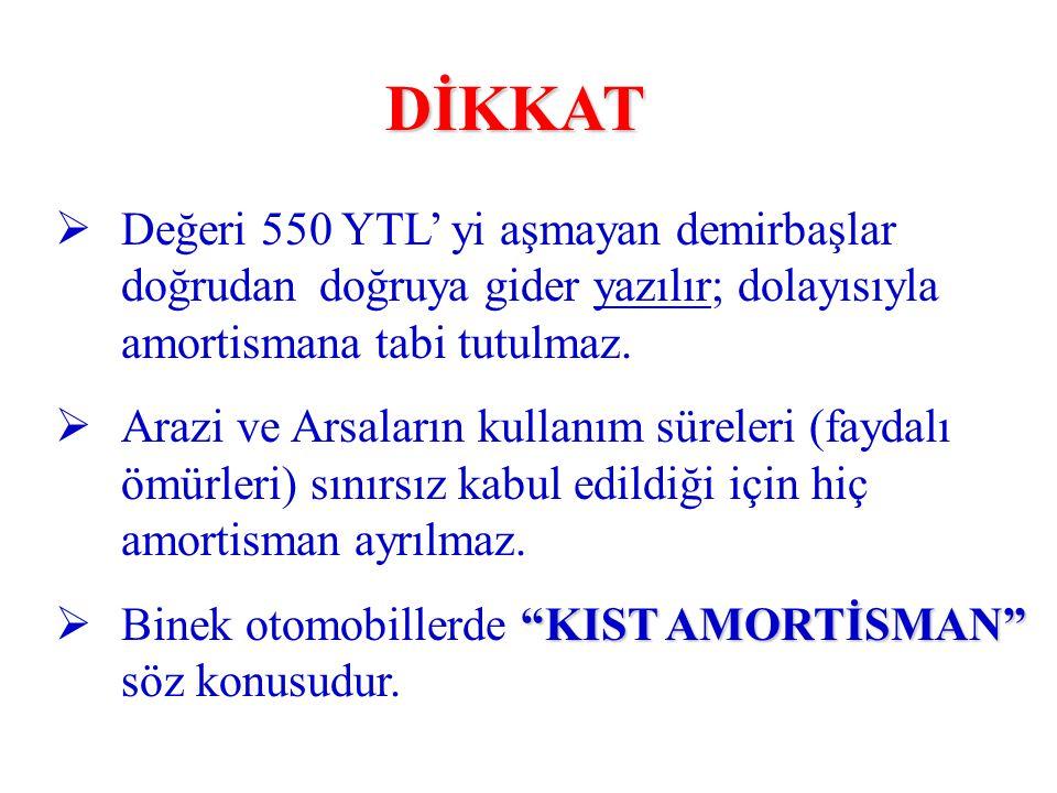 DİKKAT Değeri 550 YTL' yi aşmayan demirbaşlar doğrudan doğruya gider yazılır; dolayısıyla amortismana tabi tutulmaz.