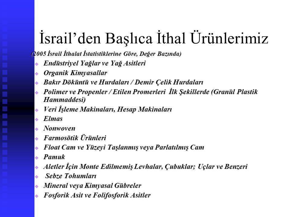 İsrail'den Başlıca İthal Ürünlerimiz