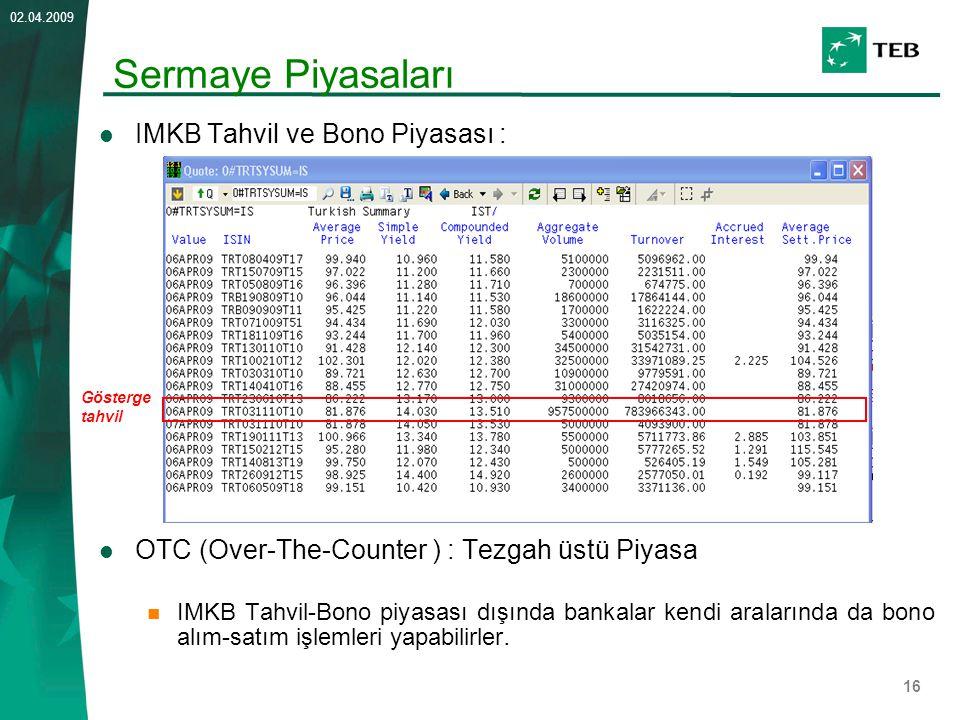 Sermaye Piyasaları IMKB Tahvil ve Bono Piyasası :