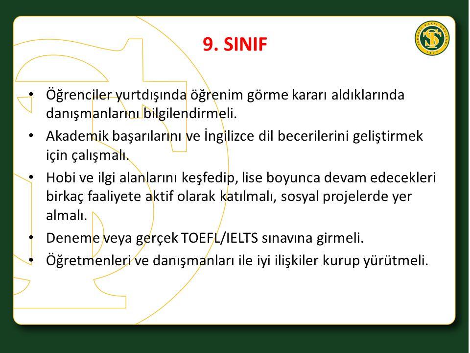 9. SINIF Öğrenciler yurtdışında öğrenim görme kararı aldıklarında danışmanlarını bilgilendirmeli.