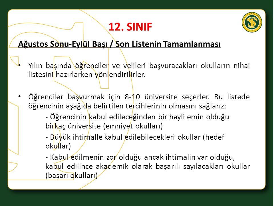 12. SINIF Ağustos Sonu-Eylül Başı / Son Listenin Tamamlanması