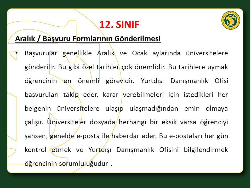 12. SINIF Aralık / Başvuru Formlarının Gönderilmesi