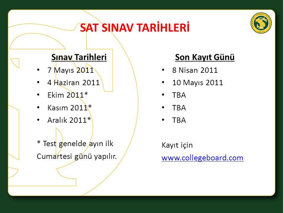 SAT SINAV TARİHLERİ Sınav Tarihleri Son Kayıt Günü 7 Mayıs 2011