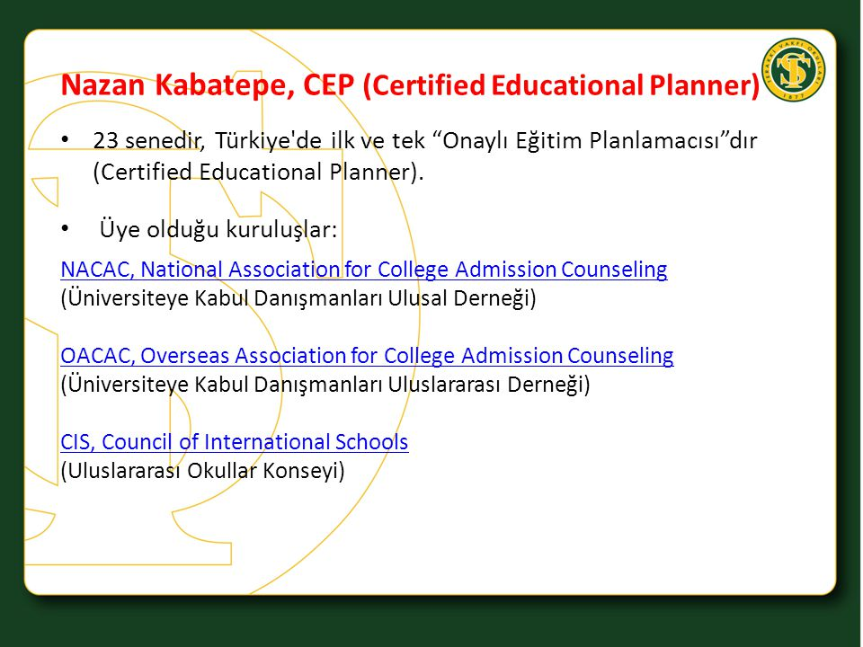 Nazan Kabatepe, CEP (Certified Educational Planner)
