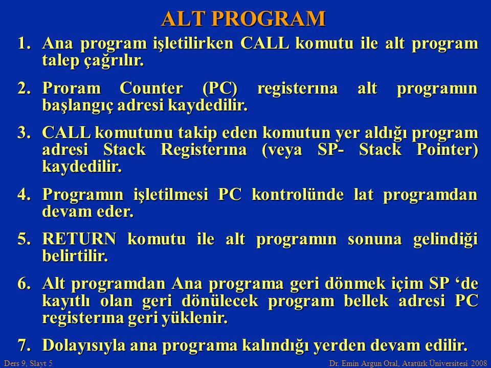 ALT PROGRAM Ana program işletilirken CALL komutu ile alt program talep çağrılır.