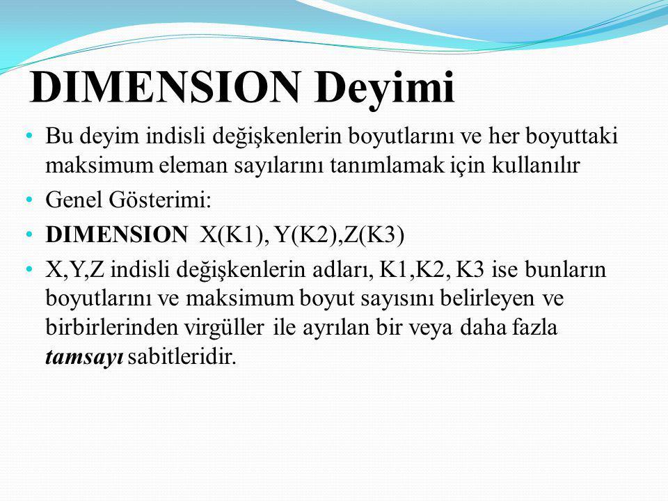 DIMENSION Deyimi Bu deyim indisli değişkenlerin boyutlarını ve her boyuttaki maksimum eleman sayılarını tanımlamak için kullanılır.