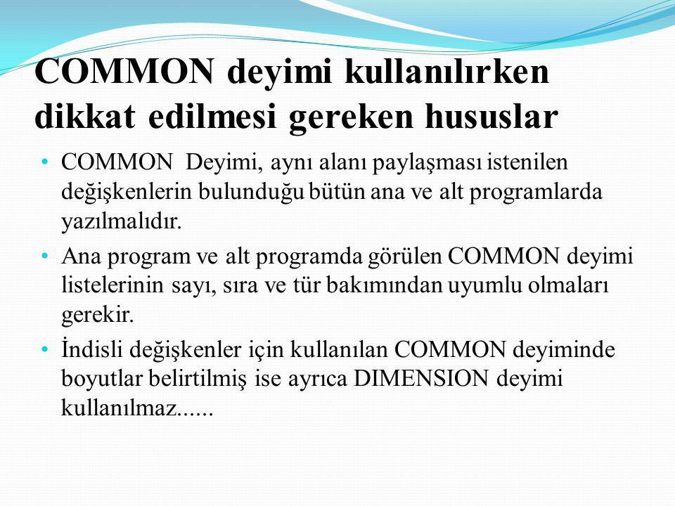 COMMON deyimi kullanılırken dikkat edilmesi gereken hususlar