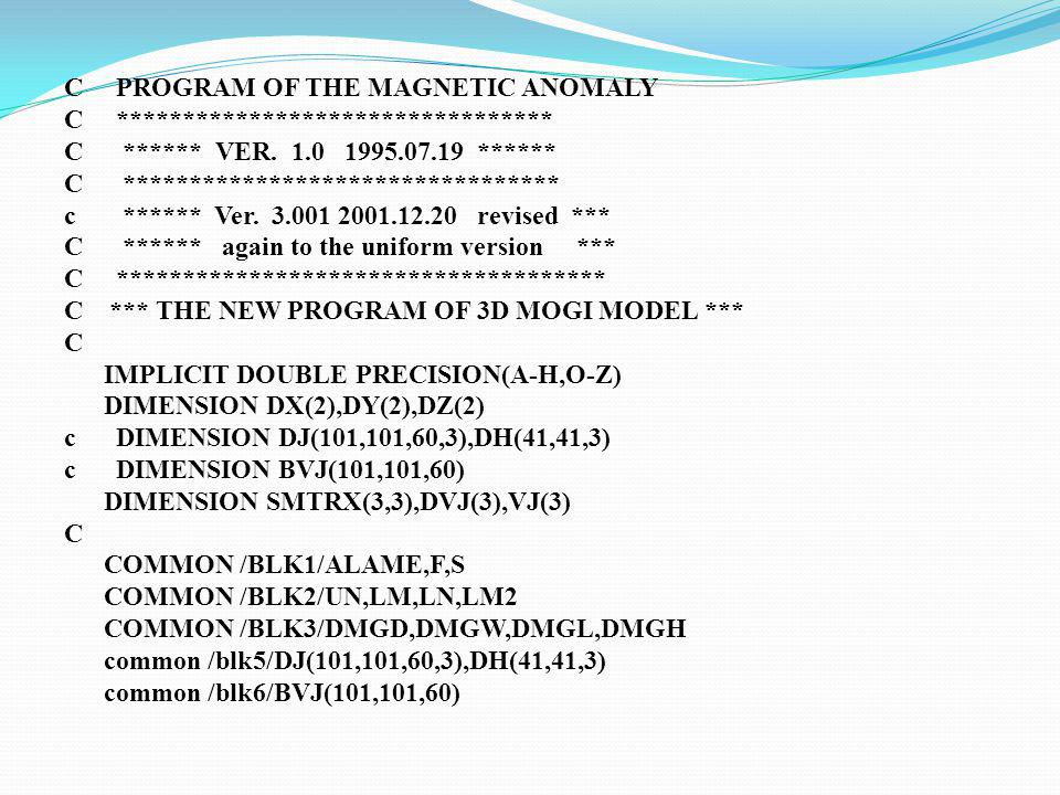 C PROGRAM OF THE MAGNETIC ANOMALY C. C. VER. 1. 0 1995. 07. 19. C. c
