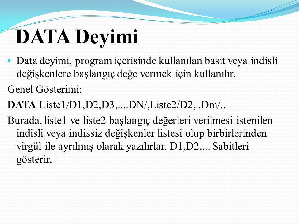 DATA Deyimi Data deyimi, program içerisinde kullanılan basit veya indisli değişkenlere başlangıç değe vermek için kullanılır.