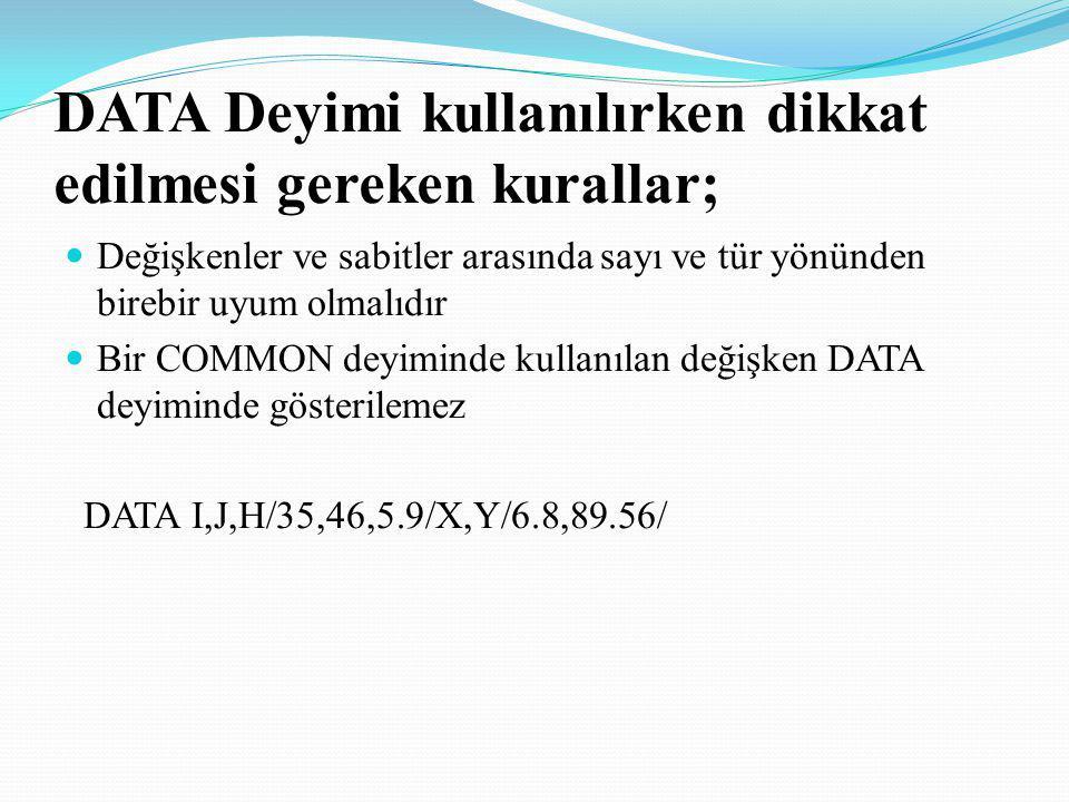 DATA Deyimi kullanılırken dikkat edilmesi gereken kurallar;