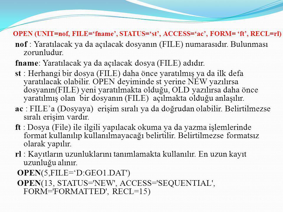 fname: Yaratılacak ya da açılacak dosya (FILE) adıdır.