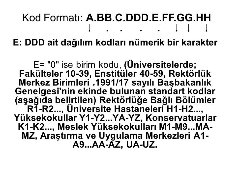 E: DDD ait dağılım kodları nümerik bir karakter