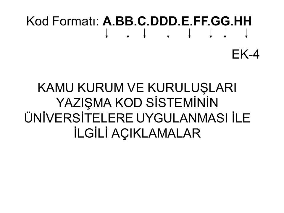 Kod Formatı: A.BB.C.DDD.E.FF.GG.HH