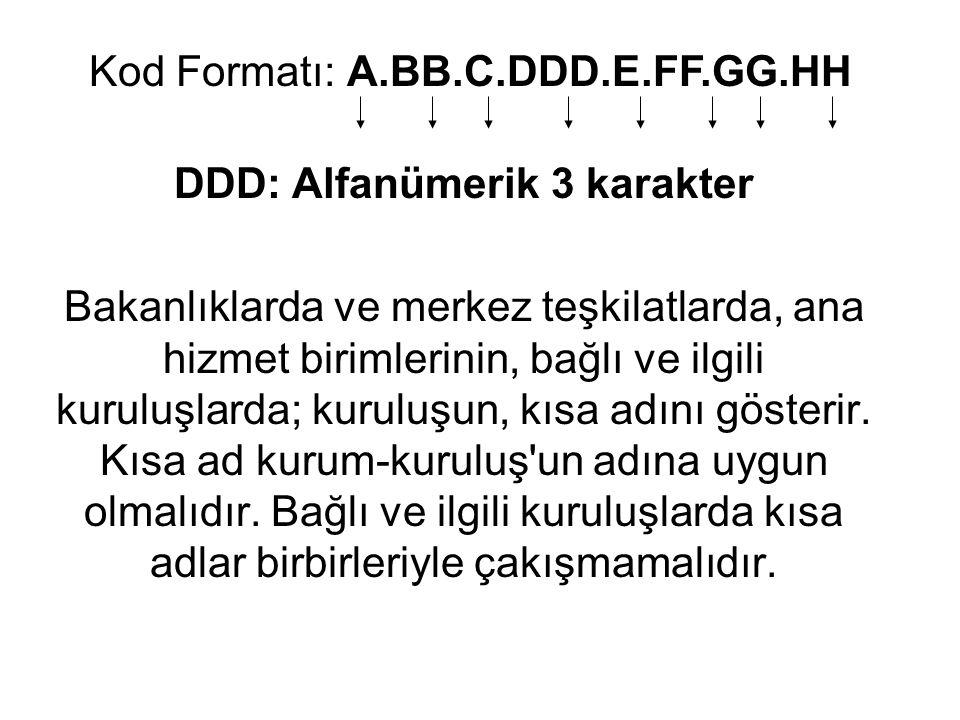DDD: Alfanümerik 3 karakter
