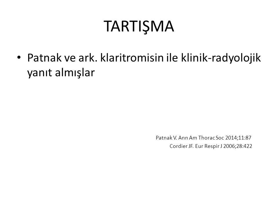 TARTIŞMA Patnak ve ark. klaritromisin ile klinik-radyolojik yanıt almışlar. Patnak V. Ann Am Thorac Soc 2014;11:87.