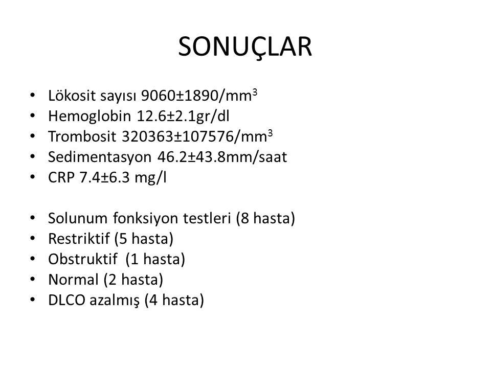 SONUÇLAR Lökosit sayısı 9060±1890/mm3 Hemoglobin 12.6±2.1gr/dl