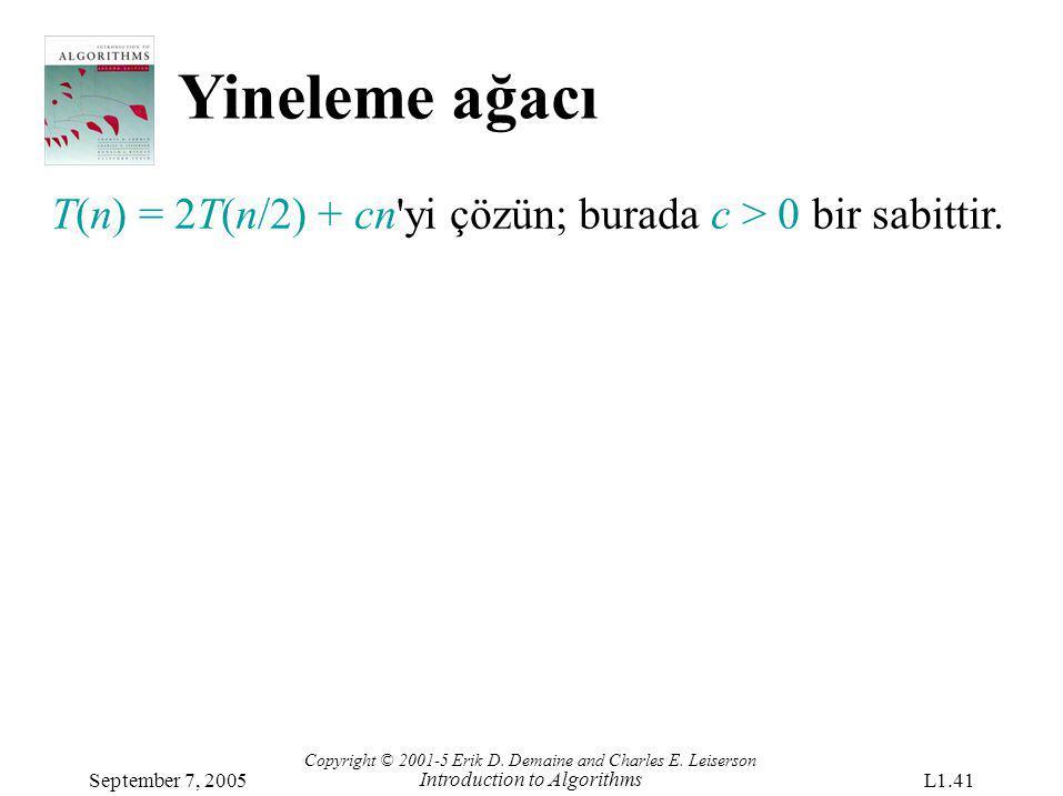 Yineleme ağacı T(n) = 2T(n/2) + cn yi çözün; burada c > 0 bir sabittir. Copyright © 2001-5 Erik D. Demaine and Charles E. Leiserson.