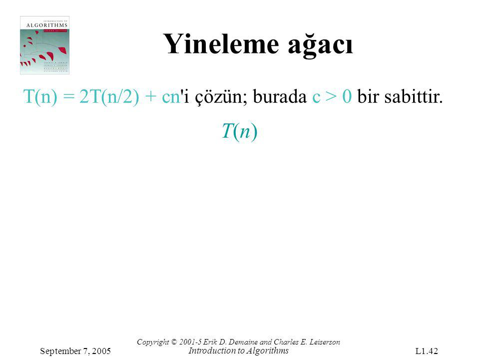Yineleme ağacı T(n) = 2T(n/2) + cn i çözün; burada c > 0 bir sabittir. T(n) Copyright © 2001-5 Erik D. Demaine and Charles E. Leiserson.