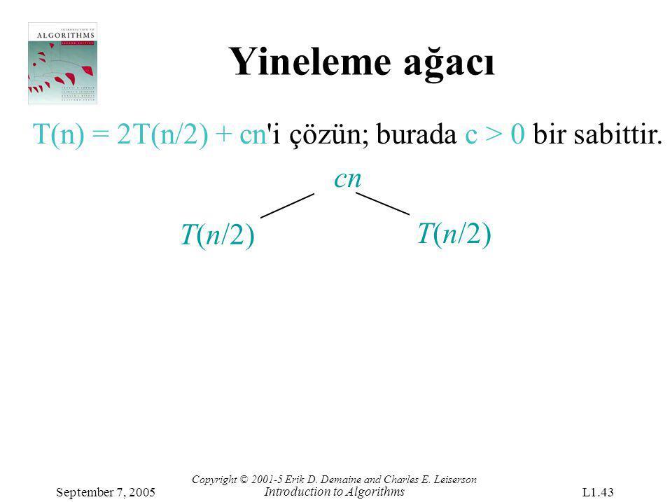 Yineleme ağacı T(n) = 2T(n/2) + cn i çözün; burada c > 0 bir sabittir. cn. T(n/2) T(n/2)