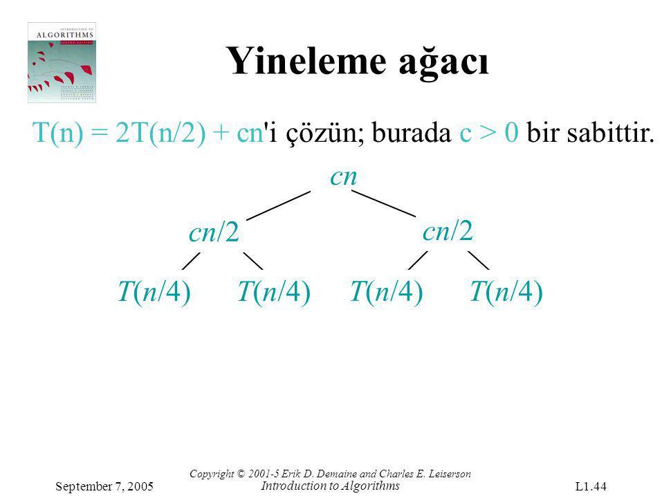 Yineleme ağacı T(n) = 2T(n/2) + cn i çözün; burada c > 0 bir sabittir. cn. cn/2. cn/2. T(n/4) T(n/4)