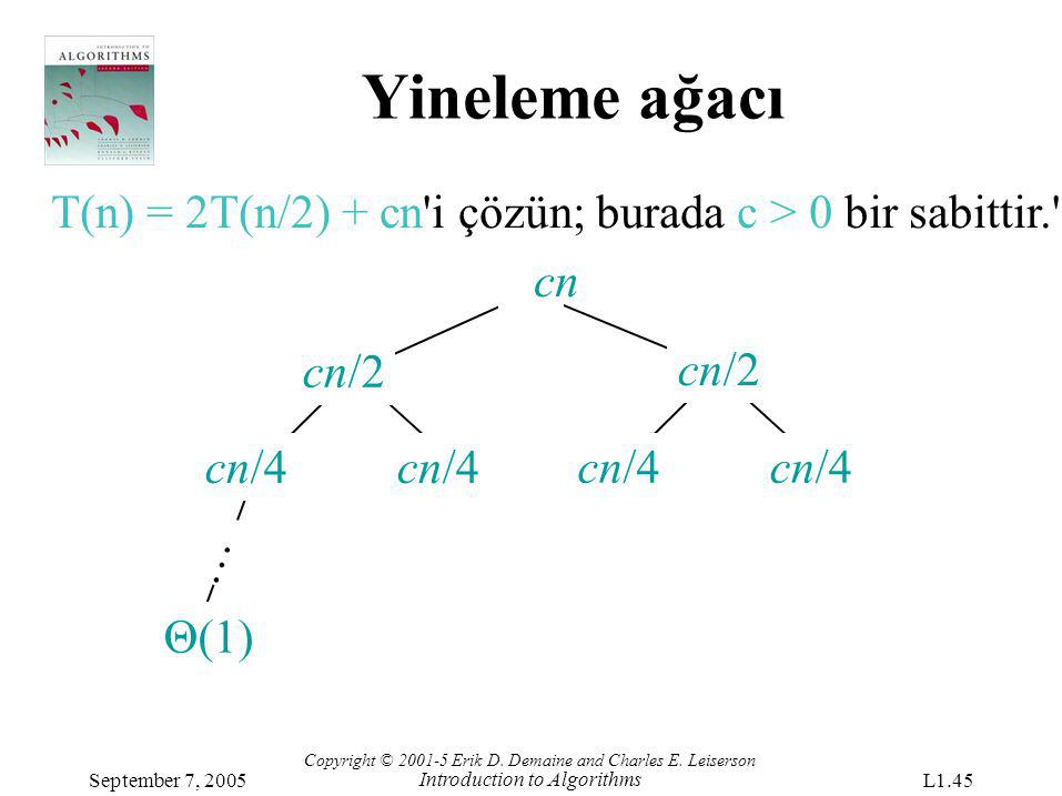Yineleme ağacı T(n) = 2T(n/2) + cn i çözün; burada c > 0 bir sabittir. cn. cn/2. cn/2. cn/4. cn/4.