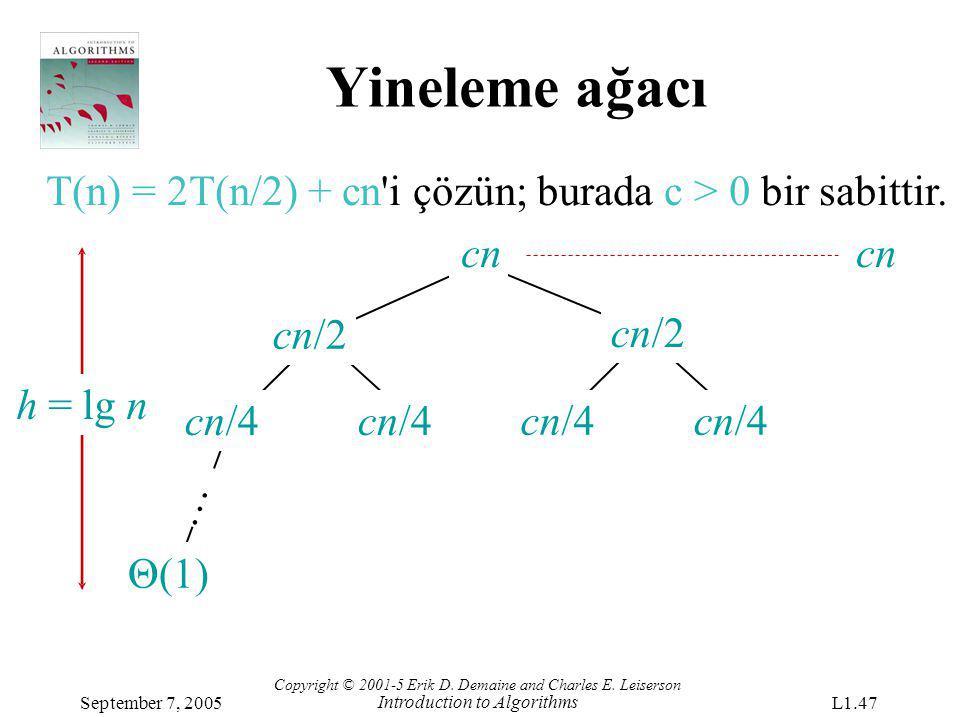 Yineleme ağacı T(n) = 2T(n/2) + cn i çözün; burada c > 0 bir sabittir. cn cn. cn/2. cn/2.