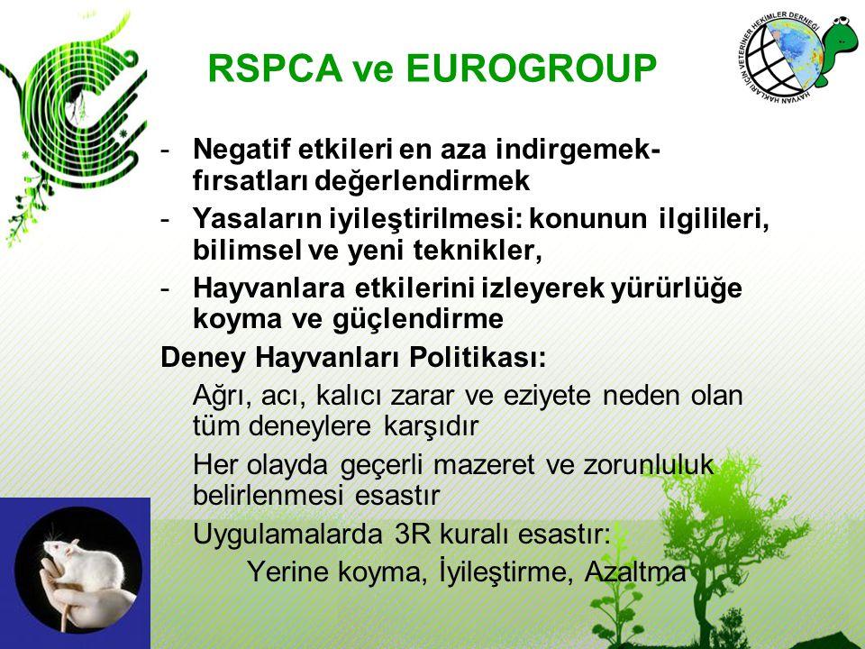 RSPCA ve EUROGROUP Negatif etkileri en aza indirgemek- fırsatları değerlendirmek.