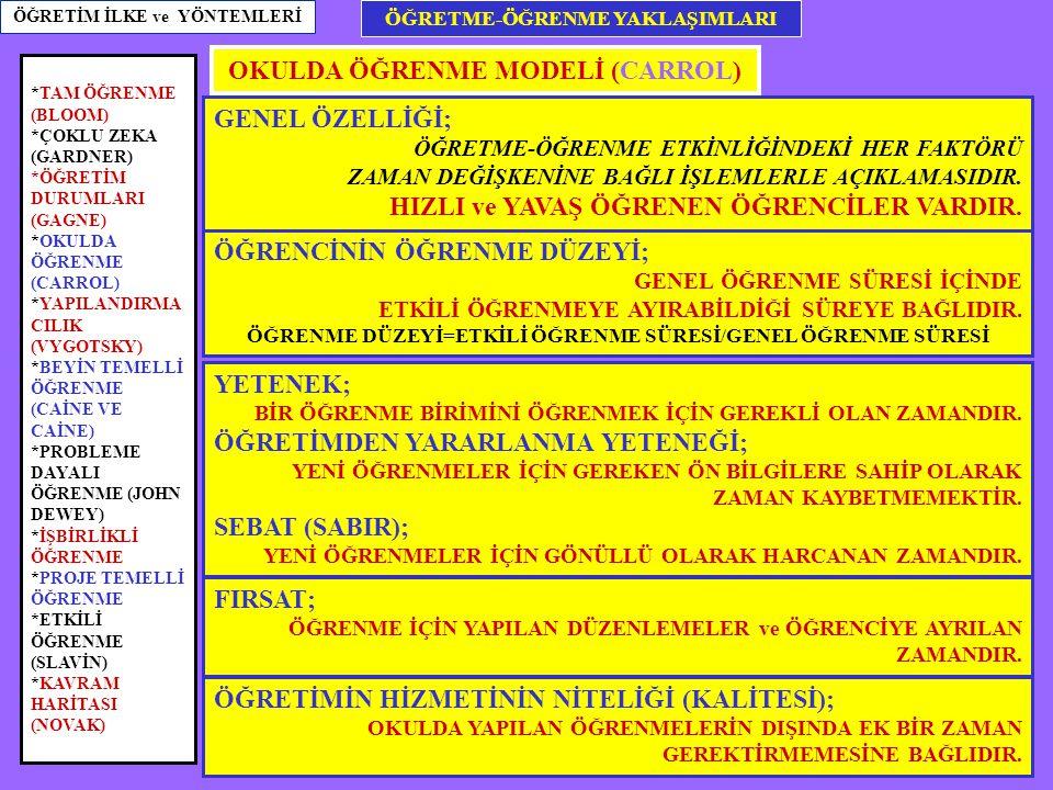 OKULDA ÖĞRENME MODELİ (CARROL)