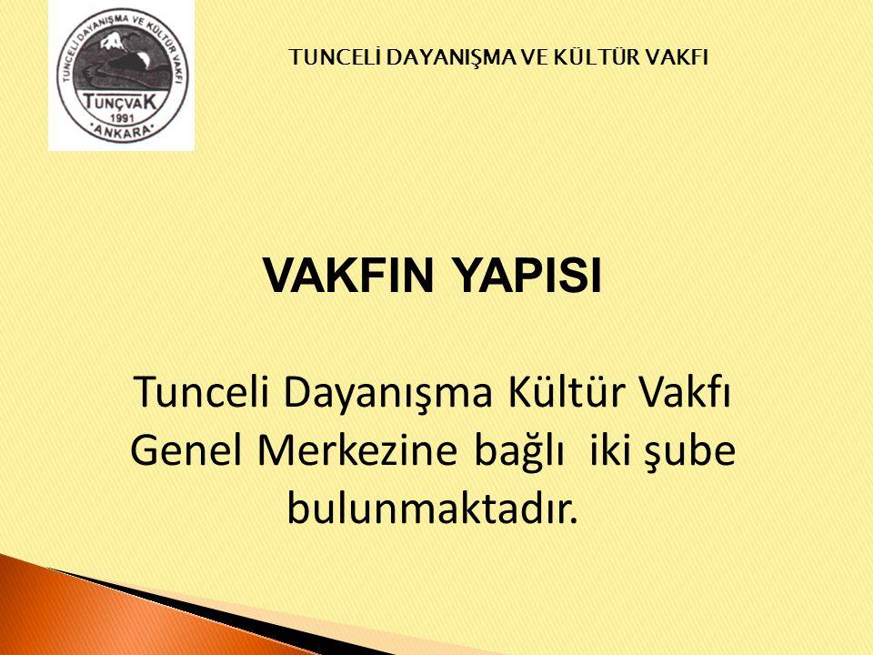 VAKFIN YAPISI Tunceli Dayanışma Kültür Vakfı Genel Merkezine bağlı iki şube bulunmaktadır.