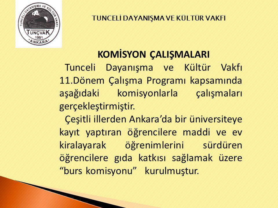 KOMİSYON ÇALIŞMALARI Tunceli Dayanışma ve Kültür Vakfı 11.Dönem Çalışma Programı kapsamında aşağıdaki komisyonlarla çalışmaları gerçekleştirmiştir.