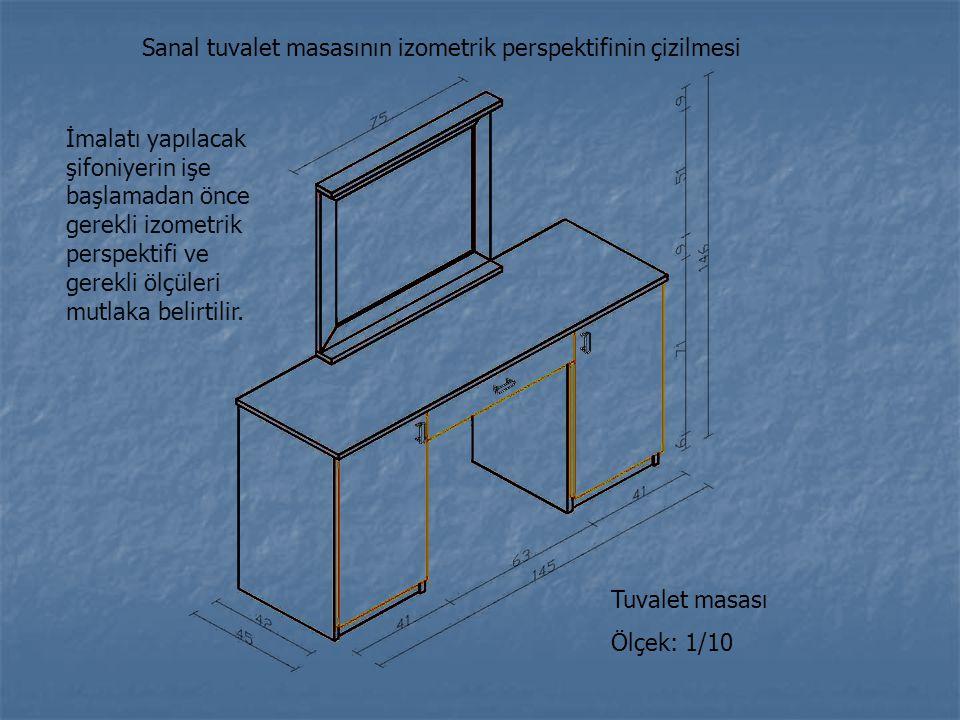 Sanal tuvalet masasının izometrik perspektifinin çizilmesi