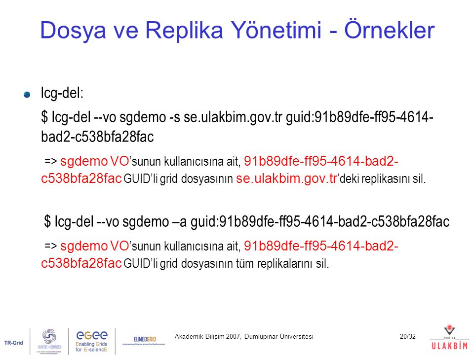 Dosya ve Replika Yönetimi - Örnekler