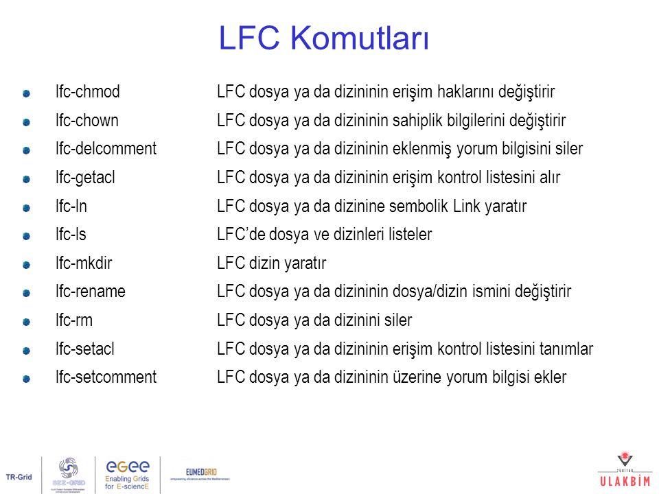 LFC Komutları lfc-chmod LFC dosya ya da dizininin erişim haklarını değiştirir.