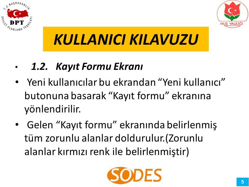 KULLANICI KILAVUZU 1.2. Kayıt Formu Ekranı.