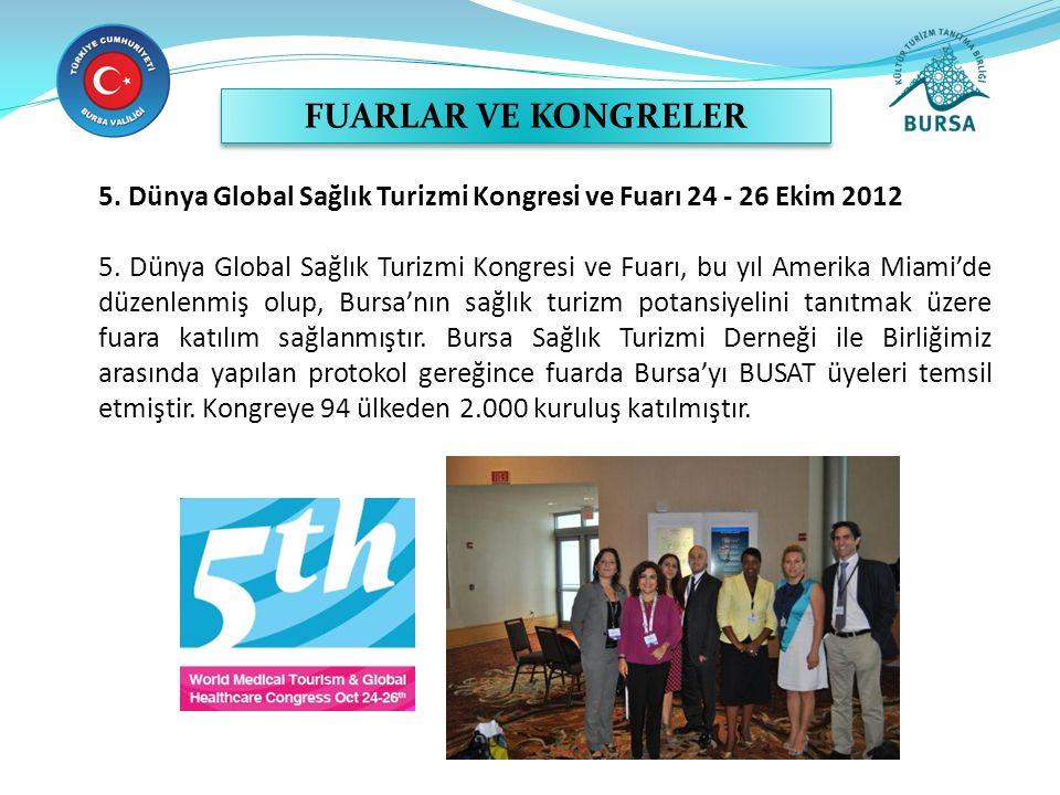 FUARLAR VE KONGRELER 5. Dünya Global Sağlık Turizmi Kongresi ve Fuarı 24 - 26 Ekim 2012.