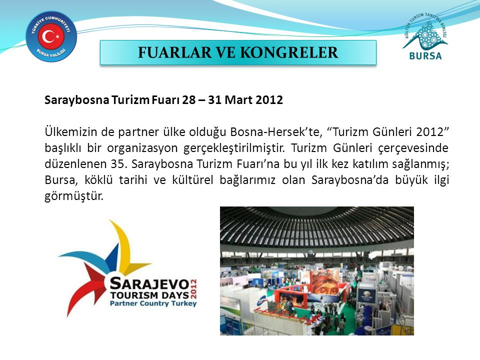 FUARLAR VE KONGRELER Saraybosna Turizm Fuarı 28 – 31 Mart 2012