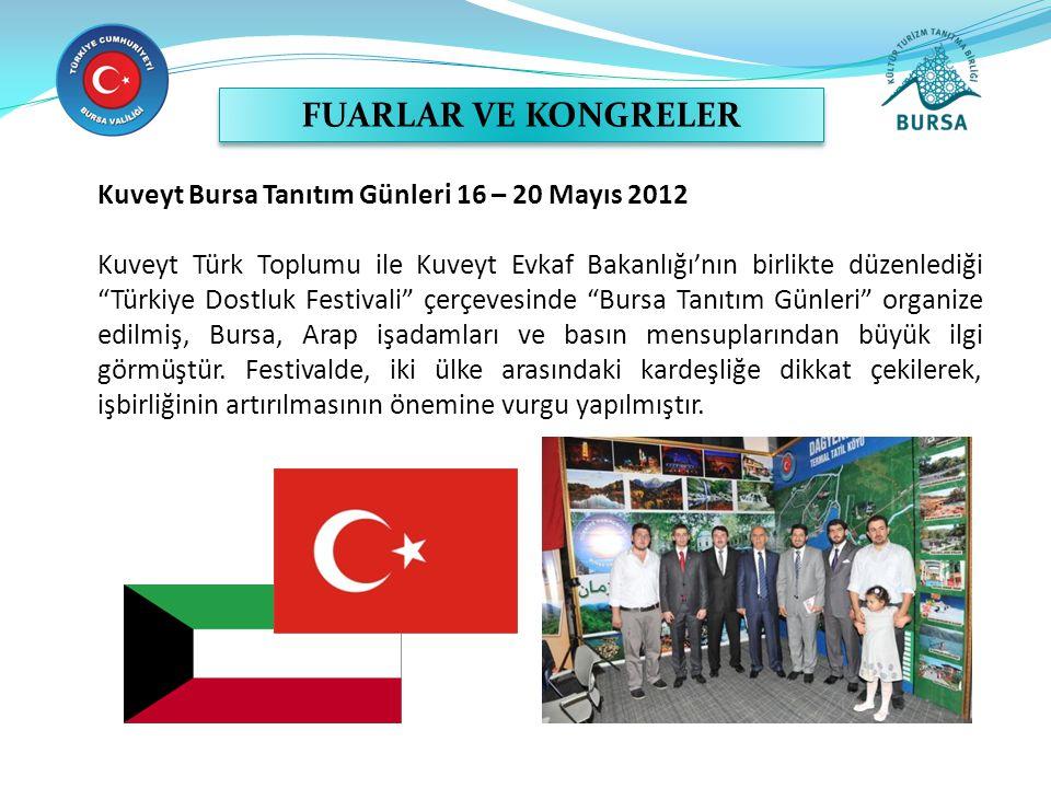 FUARLAR VE KONGRELER Kuveyt Bursa Tanıtım Günleri 16 – 20 Mayıs 2012