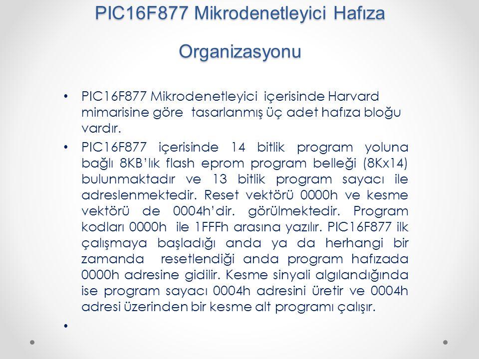 PIC16F877 Mikrodenetleyici Hafıza Organizasyonu
