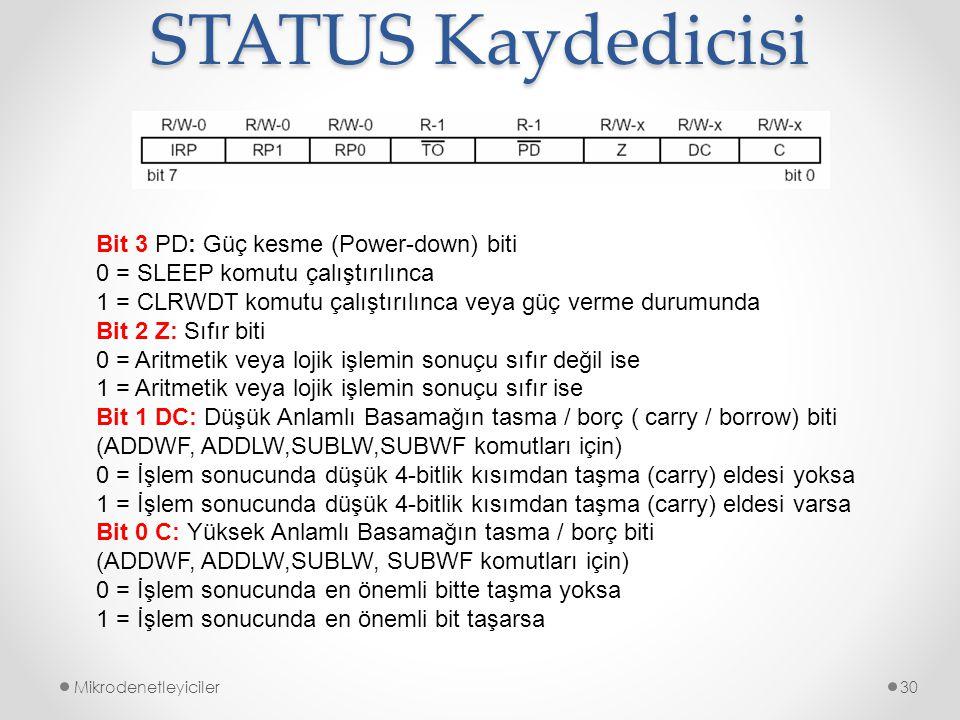 STATUS Kaydedicisi Bit 3 PD: Güç kesme (Power-down) biti