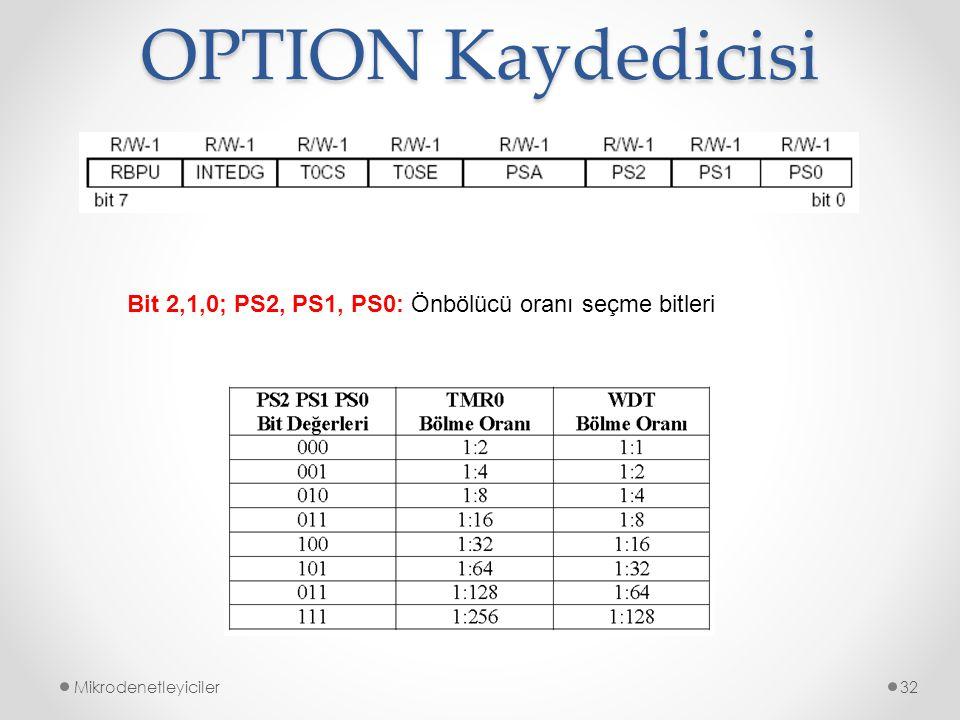 OPTION Kaydedicisi Bit 2,1,0; PS2, PS1, PS0: Önbölücü oranı seçme bitleri Mikrodenetleyiciler