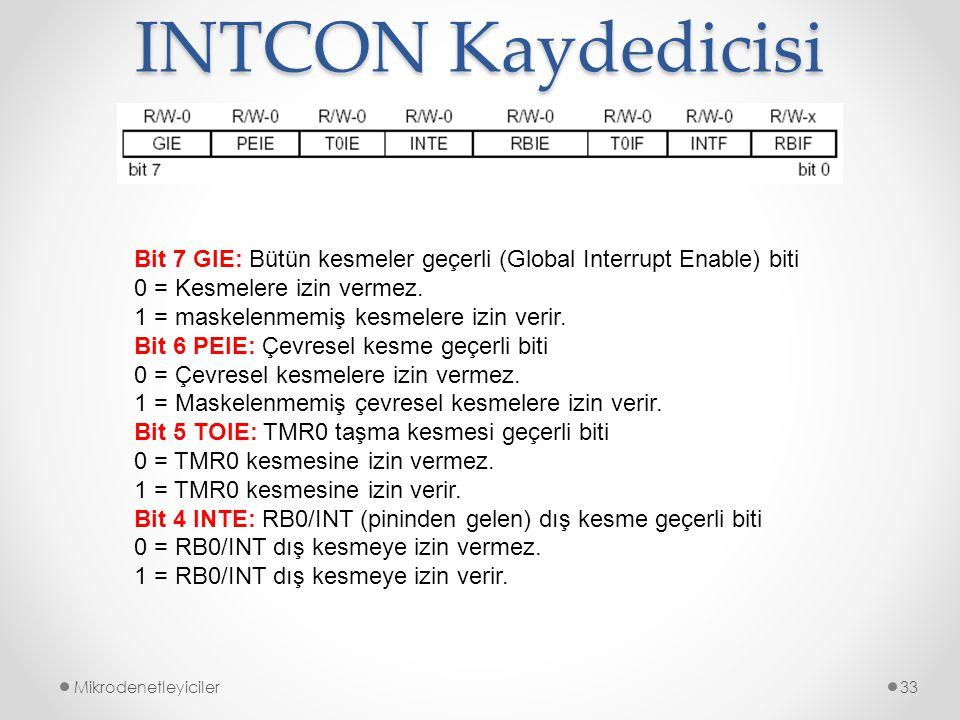 INTCON Kaydedicisi Bit 7 GIE: Bütün kesmeler geçerli (Global Interrupt Enable) biti. 0 = Kesmelere izin vermez.