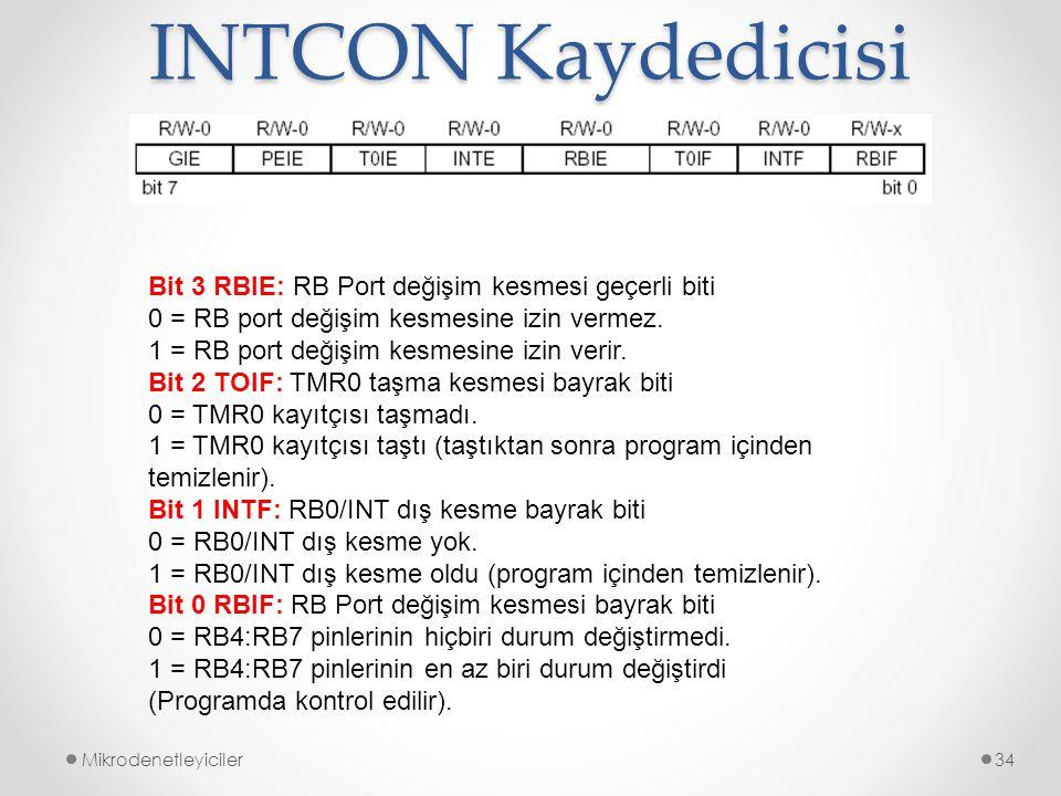 INTCON Kaydedicisi Bit 3 RBIE: RB Port değişim kesmesi geçerli biti