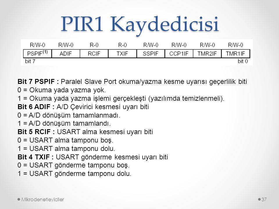 PIR1 Kaydedicisi Bit 7 PSPIF : Paralel Slave Port okuma/yazma kesme uyarısı geçerlilik biti. 0 = Okuma yada yazma yok.