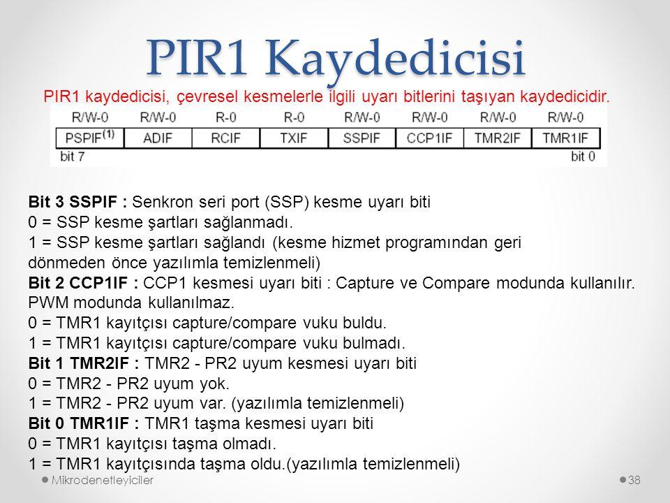 PIR1 Kaydedicisi PIR1 kaydedicisi, çevresel kesmelerle ilgili uyarı bitlerini taşıyan kaydedicidir.
