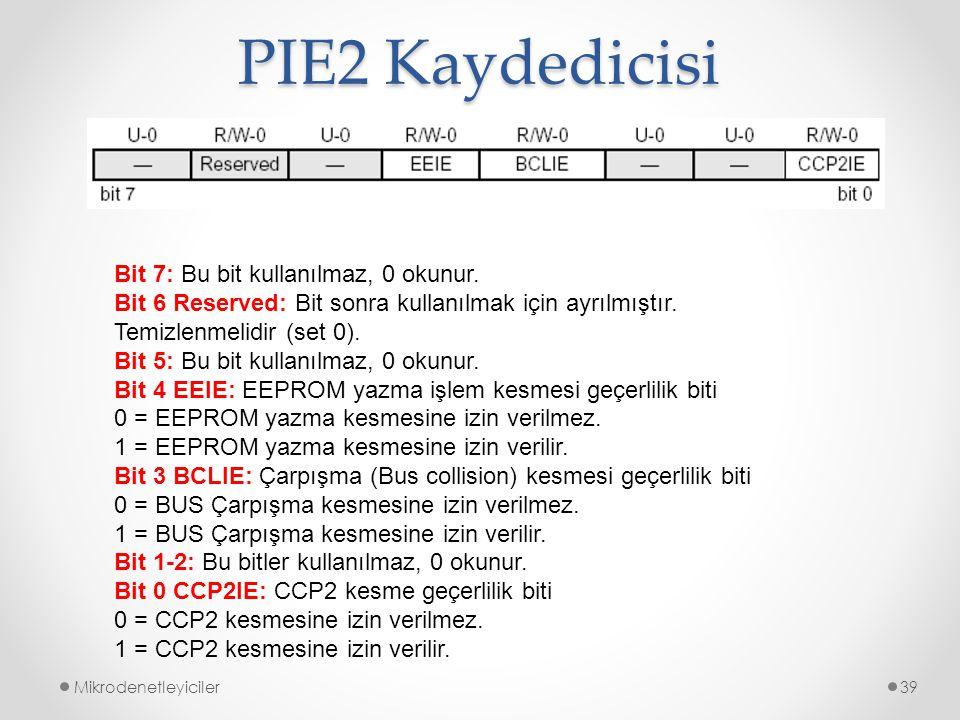 PIE2 Kaydedicisi Bit 7: Bu bit kullanılmaz, 0 okunur.