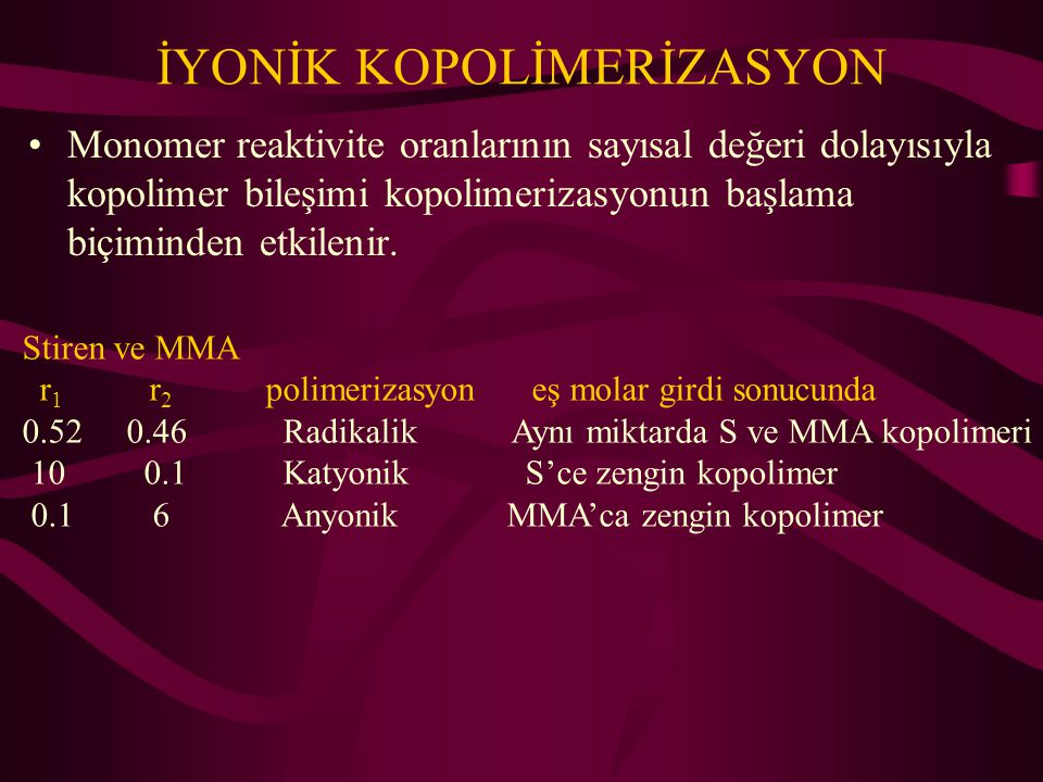 İYONİK KOPOLİMERİZASYON