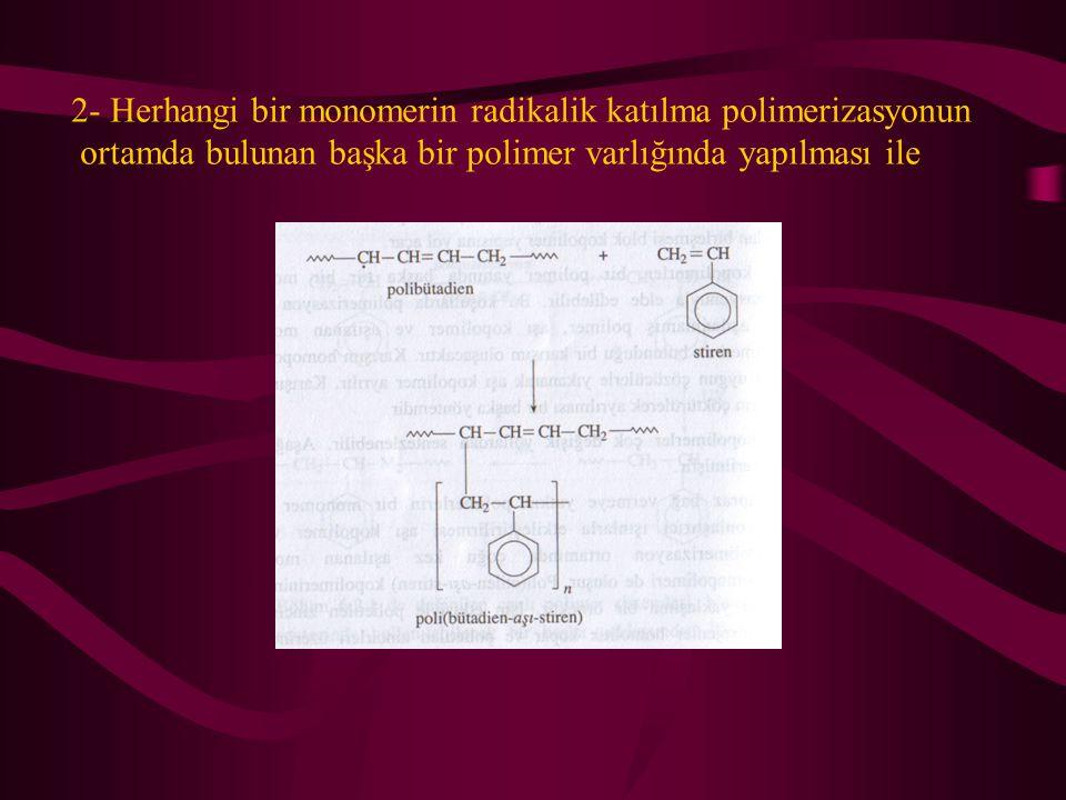 2- Herhangi bir monomerin radikalik katılma polimerizasyonun