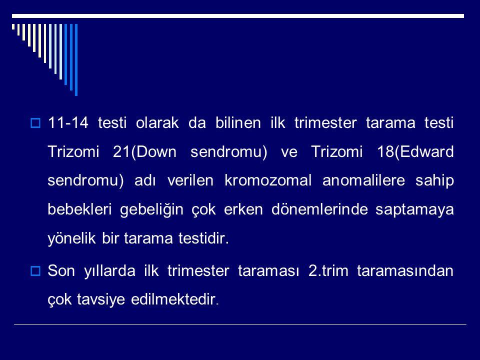 11-14 testi olarak da bilinen ilk trimester tarama testi Trizomi 21(Down sendromu) ve Trizomi 18(Edward sendromu) adı verilen kromozomal anomalilere sahip bebekleri gebeliğin çok erken dönemlerinde saptamaya yönelik bir tarama testidir.