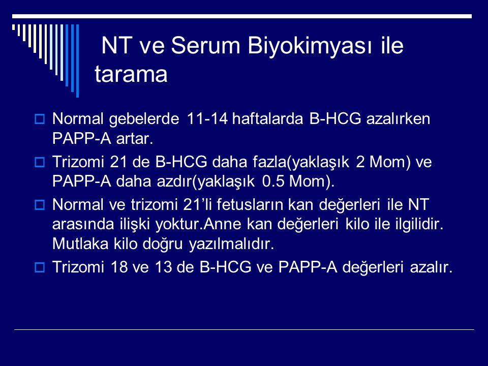 NT ve Serum Biyokimyası ile tarama